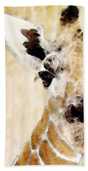 Giraffe Art - Side View Beach Towel by Sharon Cummings