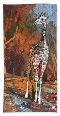 Beach Sheet featuring the painting Giraffe Batik II by Ryan Fox