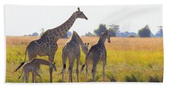 Beach Towel featuring the photograph Giraffe Family by Betty-Anne McDonald