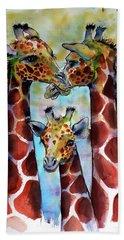 Beach Sheet featuring the painting Giraffe Family by Kovacs Anna Brigitta