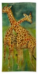 Lovely Giraffe . Beach Towel by Khalid Saeed