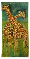 Lovely Giraffe . Beach Sheet by Khalid Saeed