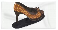 Giraffe Heels Beach Sheet by Jean Haynes