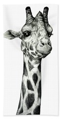 Beach Towel featuring the drawing Giraffe by Heidi Kriel