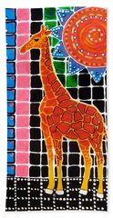 Beach Towel featuring the painting Giraffe In The Bathroom - Art By Dora Hathazi Mendes by Dora Hathazi Mendes