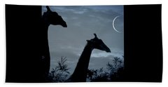 Giraffe Moon  Beach Towel
