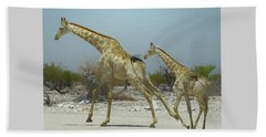 Giraffe Run Beach Towel by Ernie Echols
