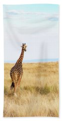 Giraffe Walking In Kenya Africa - Vertical Beach Towel