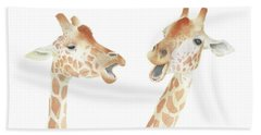 Giraffe Watercolor Beach Towel by Taylan Apukovska
