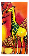 Beach Towel featuring the painting Giraffe With Fire  by Dora Hathazi Mendes