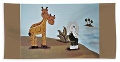 Giraffes, Elephants And Palm Trees Beach Towel