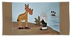 Giraffes, Elephants And Palm Trees Beach Sheet