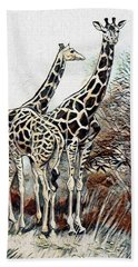 Beach Sheet featuring the digital art Giraffes by Pennie McCracken