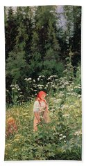 Girl Among The Wild Flowers Beach Towel