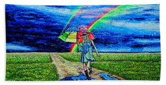 Beach Towel featuring the painting Girl And Puddle by Viktor Lazarev