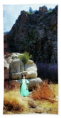 Girl At Piru Creek Beach Sheet by Timothy Bulone