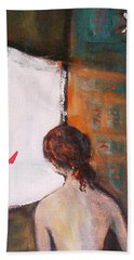 Beach Towel featuring the painting Girl At The Window by Winsome Gunning