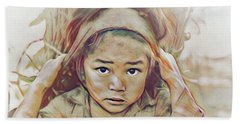 Girl Carrying Firewood In Nepal Beach Towel