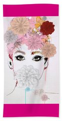Girl Flower Power Beach Towel by Gallery Messina