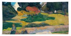 Girl Herding Pigs Beach Sheet by Paul Gauguin