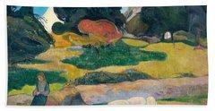 Girl Herding Pigs Beach Towel by Paul Gauguin