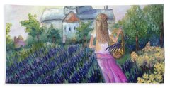 Girl In A Lavender Field  Beach Towel
