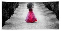 Girl In A Red Dress Beach Towel