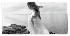 Girl In A White Dress By The Sea Beach Towel