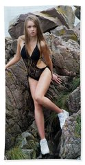 Girl In Black Swimsuit Beach Towel