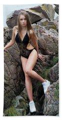 Girl In Black Swimsuit Beach Sheet
