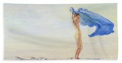 Girl In Bow Of Canoe Spreading Out Her Loin-cloth For A Sail, Samoa Beach Towel