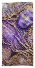 Beach Towel featuring the mixed media Girl In Purple by Angela Stout