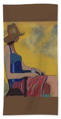 Girl In The Brown Hat Beach Towel