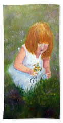 Girl In The Meadow Beach Towel