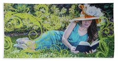 Girl Reading Book Beach Towel