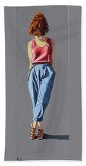 Girl Standing Beach Towel