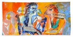 Beach Towel featuring the painting Girl Talk by Mary Schiros