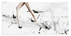 Girl Walking On Beach Beach Sheet