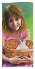 Girl With A Bunny Beach Towel by Jeanette French
