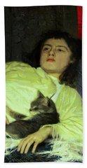 Girl With A Cat 1882 Beach Sheet
