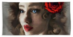 Girl With A Red Rose.. Beach Towel