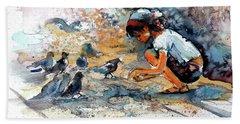 Beach Sheet featuring the painting Girl With Birds by Kovacs Anna Brigitta