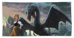 Girl With Dragon Fantasy Beach Towel by Martin Davey