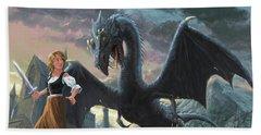 Girl With Dragon Fantasy Beach Towel