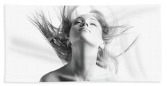 Girl With Flying Blond Hair Beach Towel by Olena Zaskochenko
