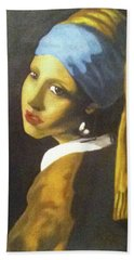Beach Sheet featuring the painting Girl With Pearl Earring by Jayvon Thomas