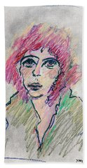 Girl With Pink Hair  Beach Towel