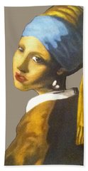 Beach Towel featuring the painting Girl With The Pearl Earring No Background by Jayvon Thomas