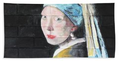Beach Towel featuring the painting Girl With The Pearl Earring by Stan Tenney