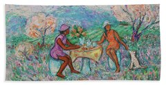 Beach Towel featuring the painting Girlfriends' Teatime Iv by Xueling Zou
